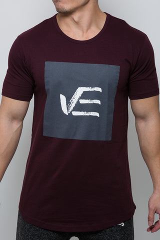 Maroon VE Elongated T-Shirt