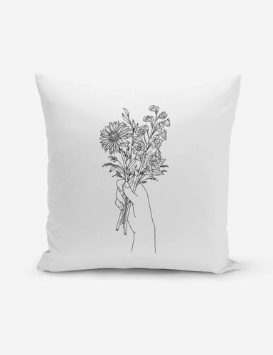 Fine Line Flower Bunch Pillow