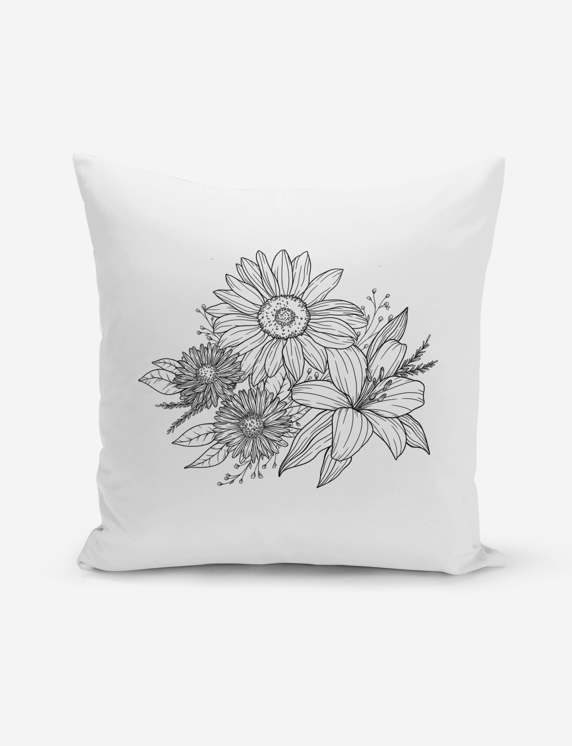 Sunflower and Lily Pillow