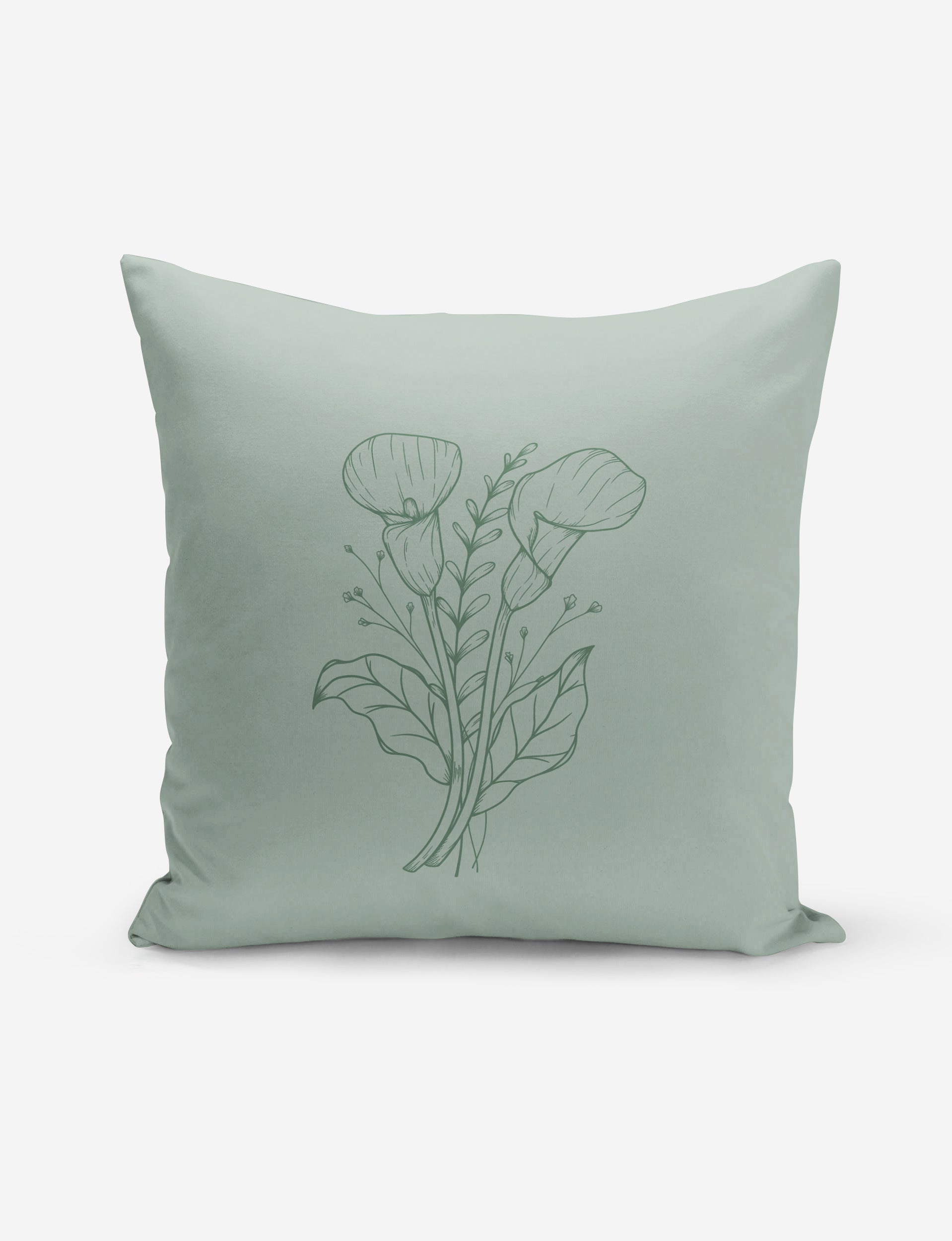 Vintage Green Lily Pillow