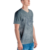 Smoke Print V-Neck T-Shirt (Blue)