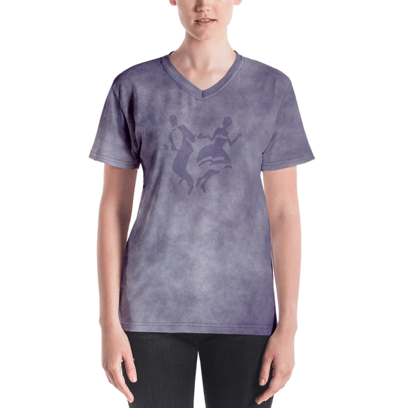Smoke Print Ladies V-Neck T-Shirt (Purple)