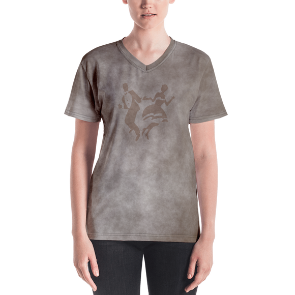 Smoke Print Ladies V-Neck T-Shirt (Orange)