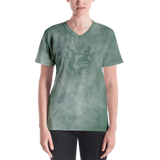 Smoke Print Ladies V-Neck T-Shirt (Green)