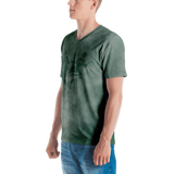 Smoke Print V-Neck T-Shirt (Green)