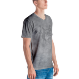 Smoke Print V-Neck T-Shirt (Grey)