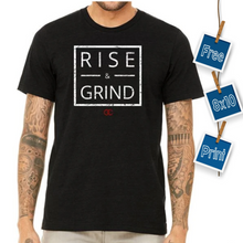 Load image into Gallery viewer, Rise and Grind Black Tee + Free 8x10 Print!
