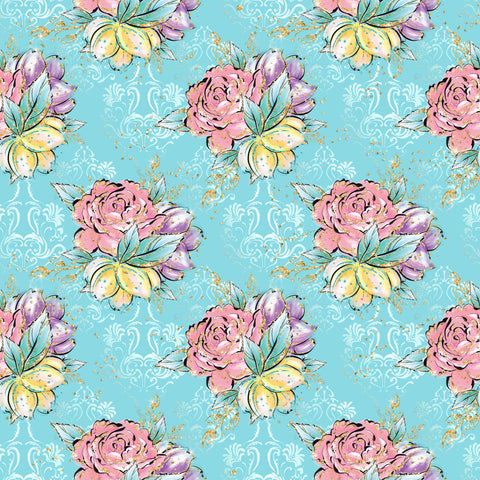 Spring Floral Patterned Adhesive Vinyl 12x12