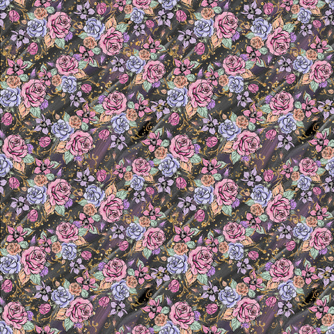 Dark Floral Patterned Adhesive Vinyl 12x12