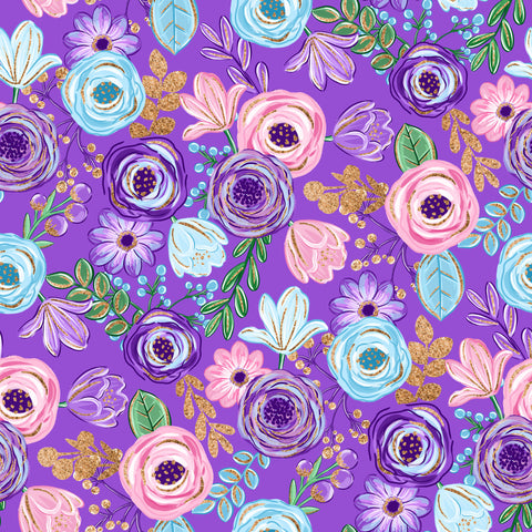 Purple Floral Patterned Adhesive Vinyl 12x12