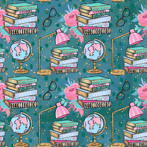 Book Worm Patterned Adhesive Vinyl 12x12