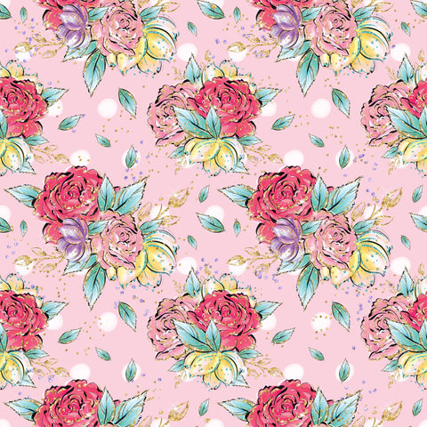 Pink Roses Patterned Adhesive Vinyl 12x12