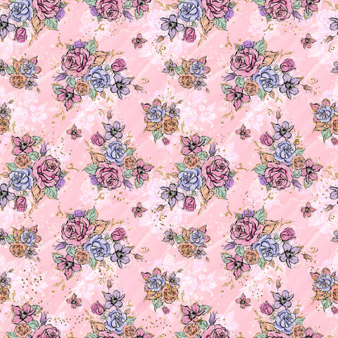 Soft Pink Roses Patterned Adhesive Vinyl 12x12