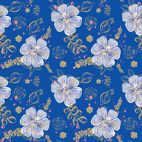 Blue Hawaiian Patterned HTV 12x12