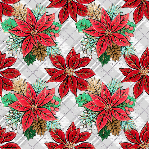 Cozy Christmas Poinsettia Patterned Adhesive Vinyl 12x12