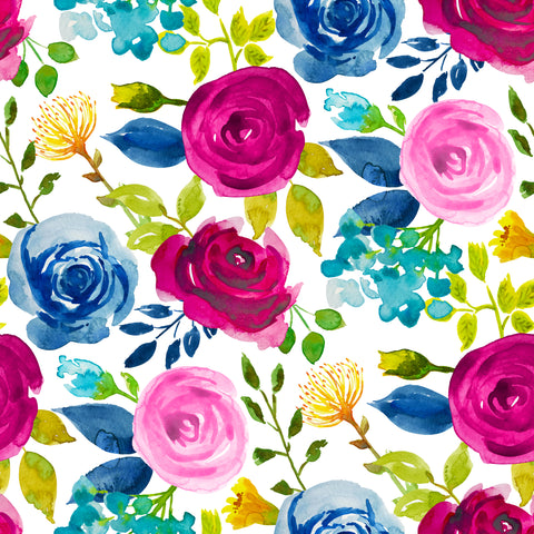 Large Watercolor Flowers Patterned Adhesive Vinyl 12x12