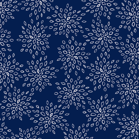 Navy Flowers Patterned Adhesive Vinyl 12x12