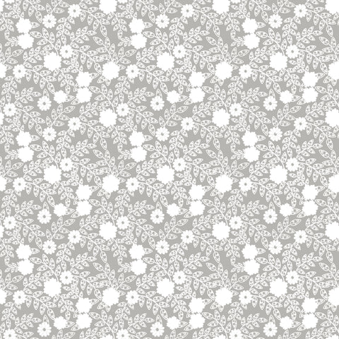 Grey Lace Flowers Patterned Adhesive Vinyl 12x12