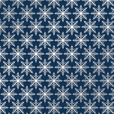 Cozy Christmas Navy Flakes Patterned Adhesive Vinyl 12x12