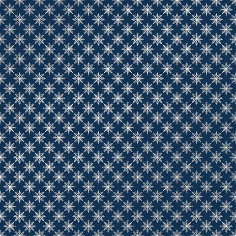 Cozy Christmas Navy Small Flakes Patterned Adhesive Vinyl 12x12