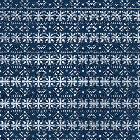 Cozy Christmas Navy Busy Patterned Adhesive Vinyl 12x12