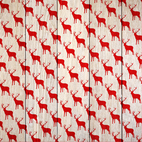 Cozy Christmas Wood Elk Patterned Adhesive Vinyl 12x12