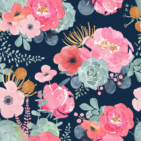 Floral Navy 12x12 Patterned HTV