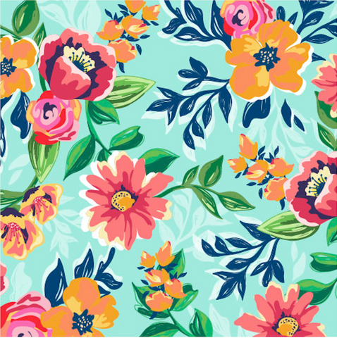 Summer Floral Patterned Adhesive Vinyl 12x12