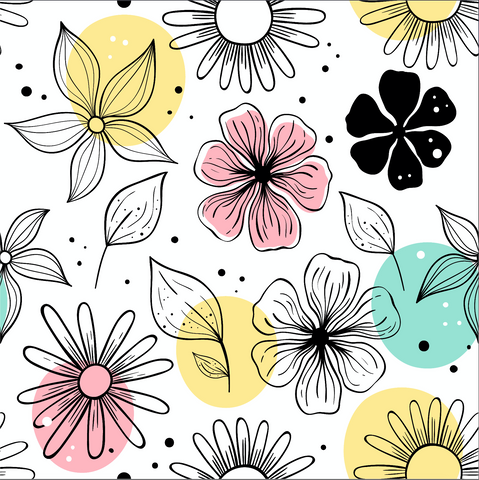 Flow With The Flowers Patterned Adhesive Vinyl 12x12