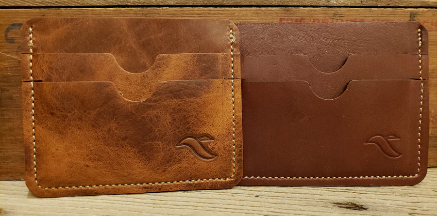Three pocket leather card and money keeper