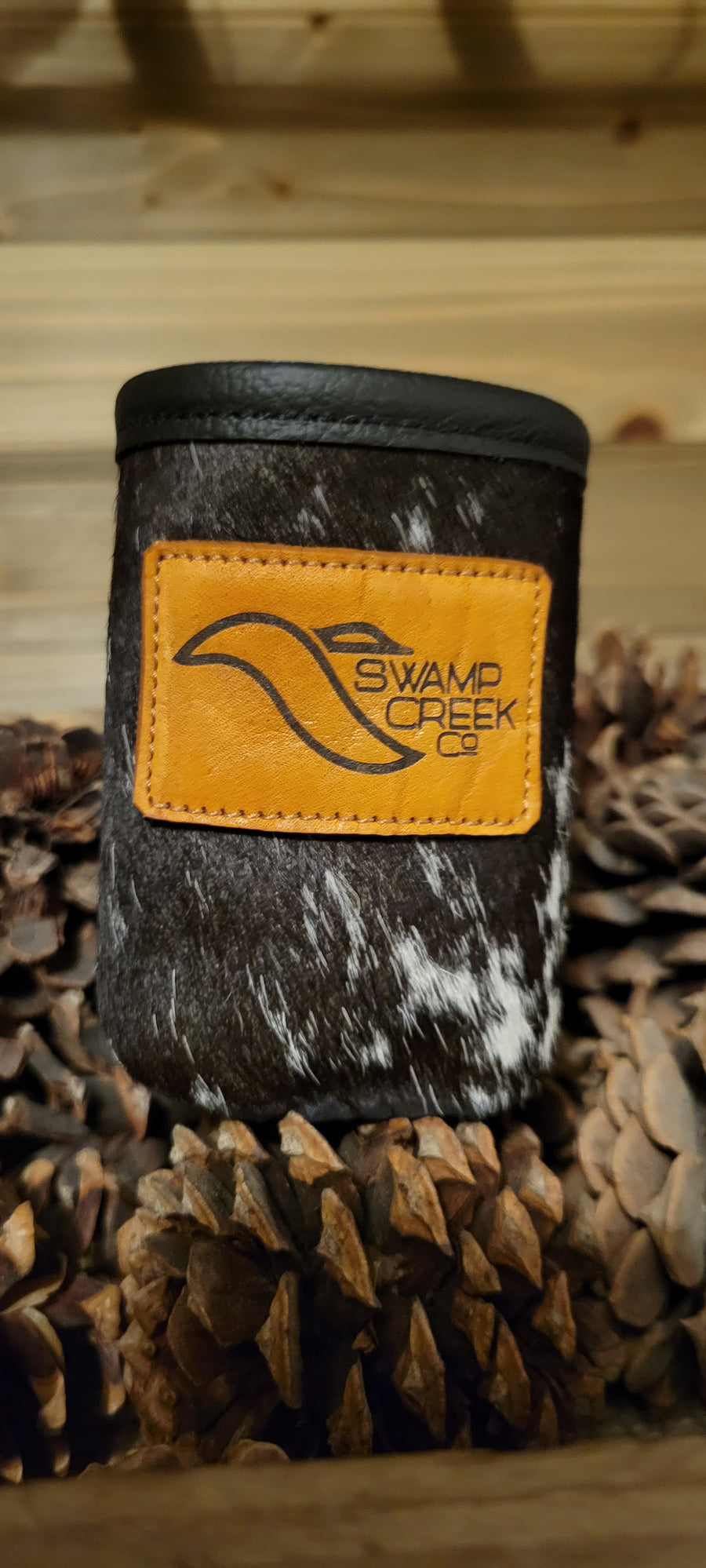 Cow Hide Leather Can Koozie