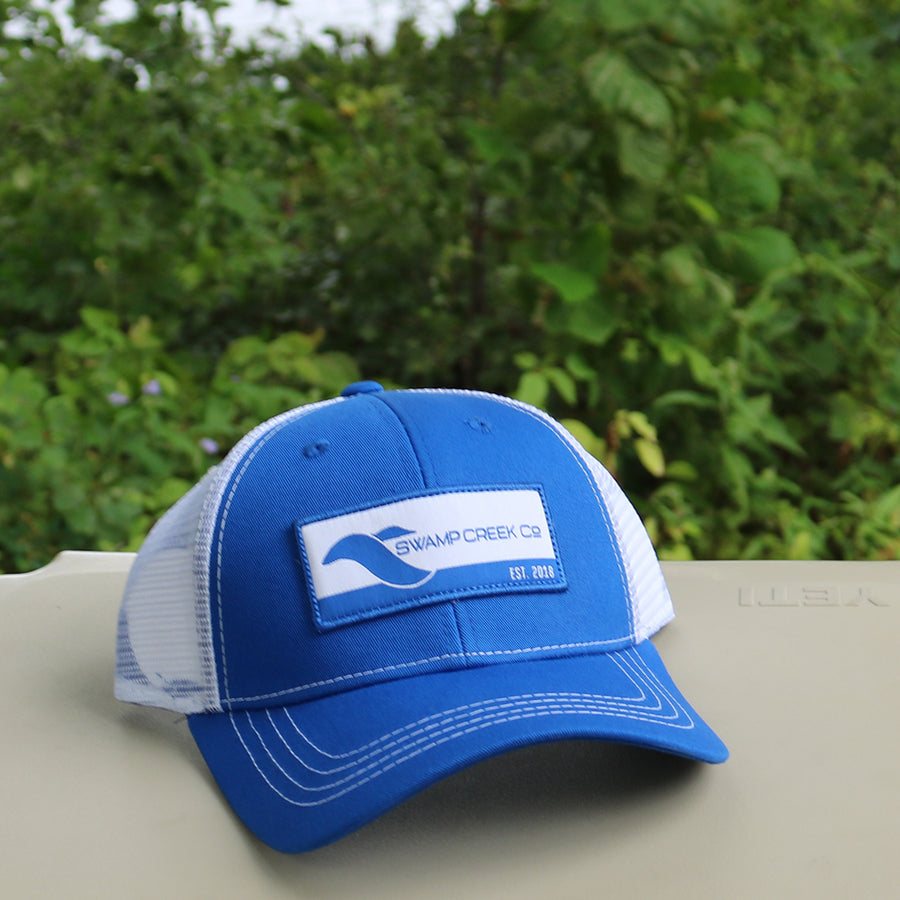 Blue and White Trucker Hat - Swamp Creek Co.