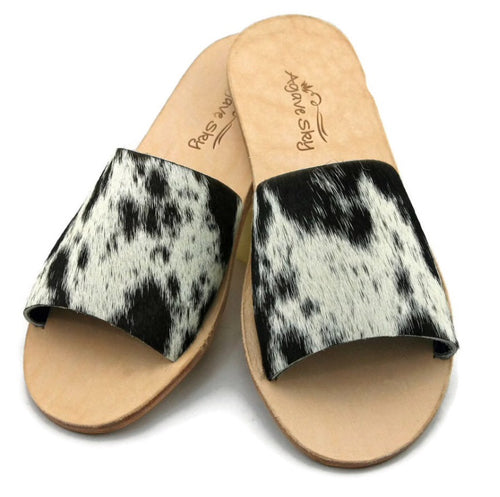 Agave Sky Nadia Cowhide Flats ~ Salt And Pepper