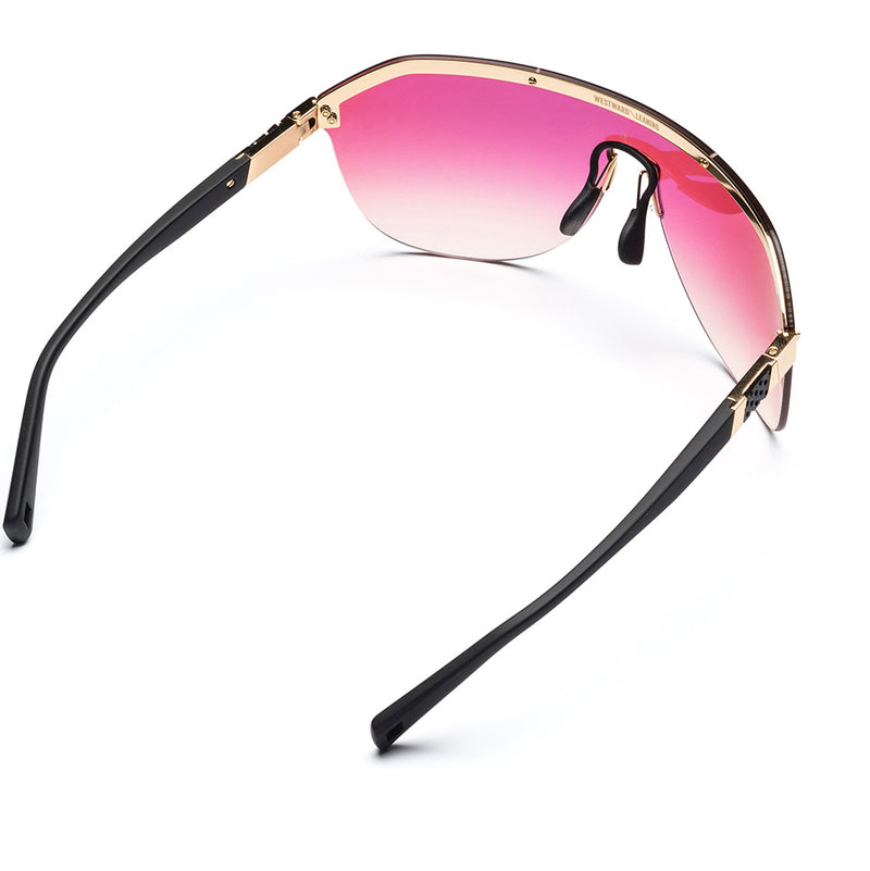 Westward Leaning Pink Vibe 01 sport glasses rear view with a white background