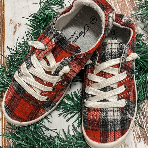 Plaid Love Slip On Sneakers