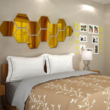 12X Acrylic Hexagon wall decor Mirror (GOLD)