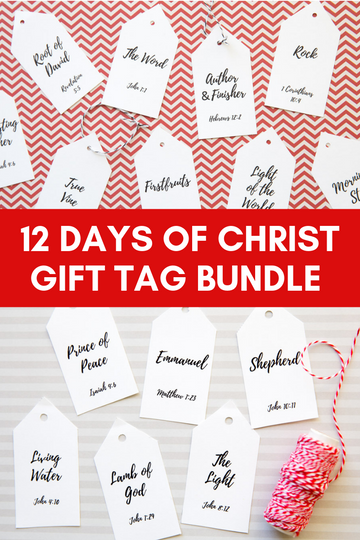 12 Day of Christ Bundle- 45 Name Tags, Companion Cards, & Starting Poems