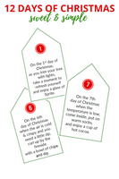 Sweet & Simple 12 Days of Christmas (Poem Tags & Gift List) - Digital Download