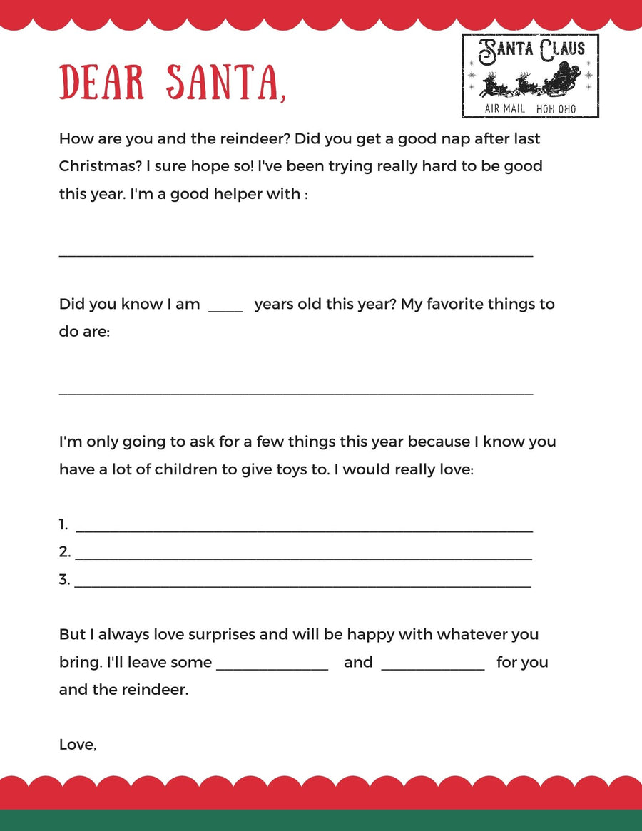 Santa Letter Template- Fill In The Blank