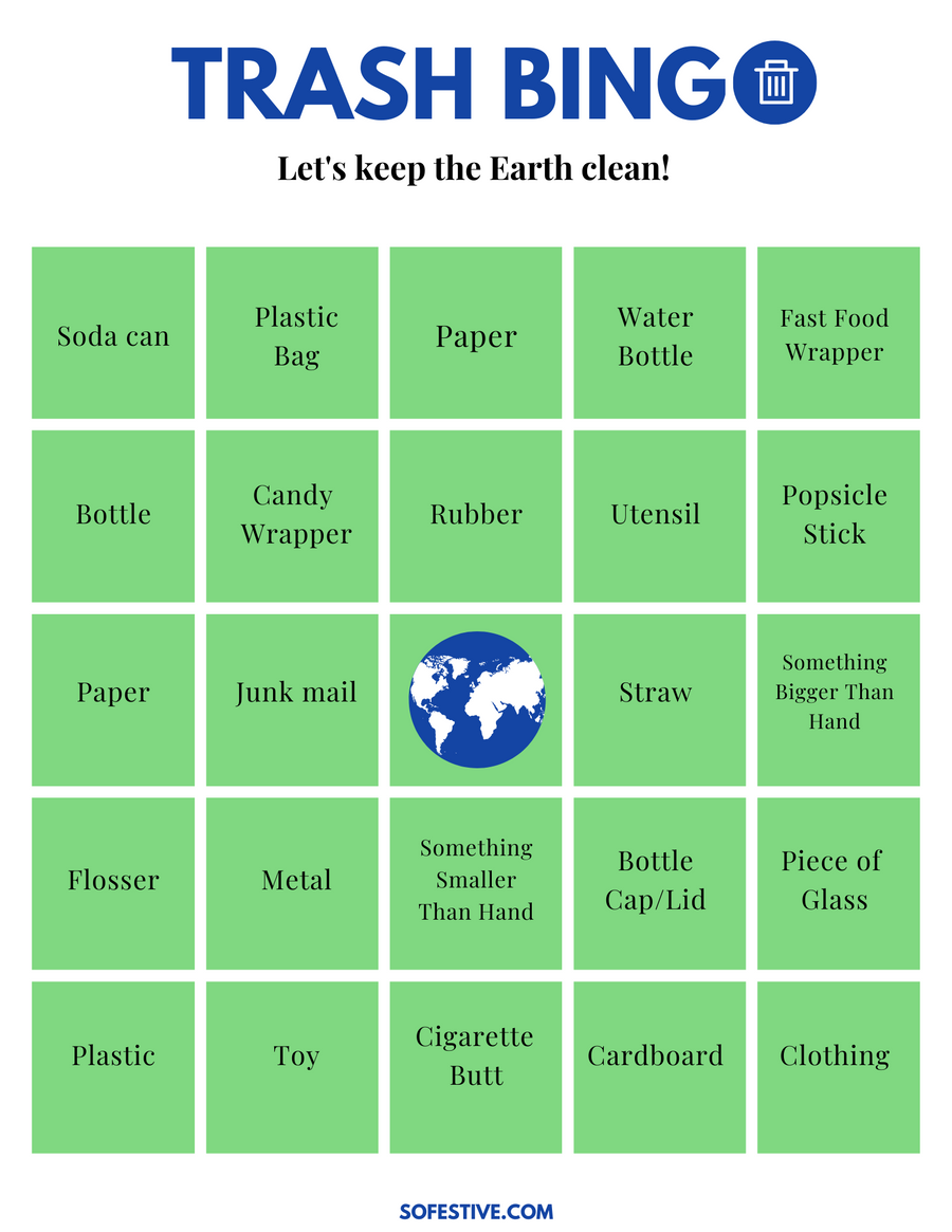 Trash Bingo Scavenger Hunt