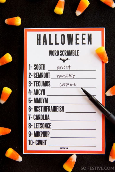 Halloween Game- Word Scramble