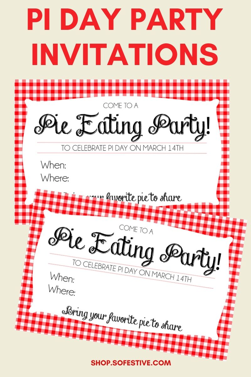 Pi Day Party Invitations