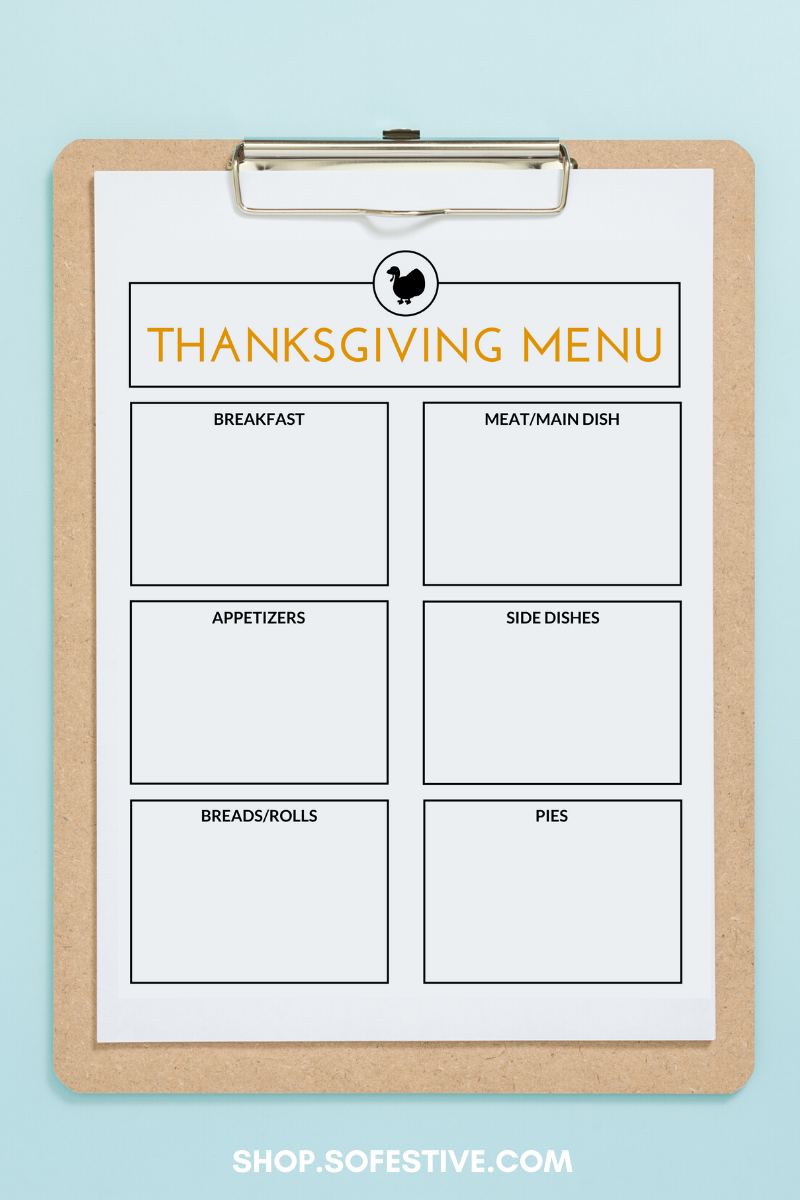 Thanksgiving Planner- Menu, Recipe Cards, Shopping List