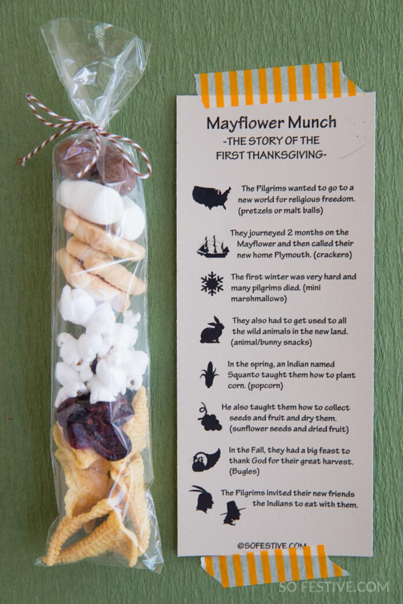 Mayflower Munch First Thanksgiving Story Tags- Digital Download