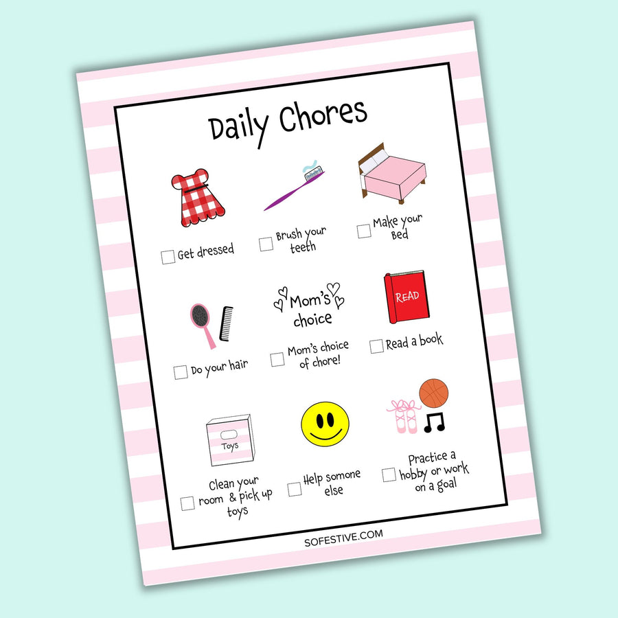 Kids Daily Chore Charts- Boy & Girl Version