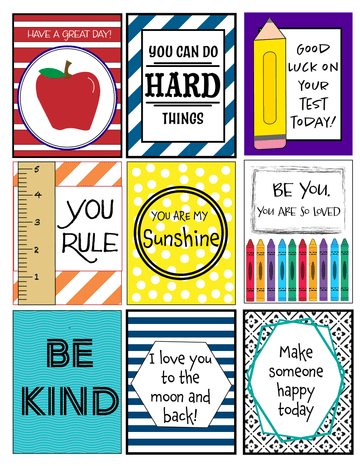 9 School Lunch Lunch Box Notes