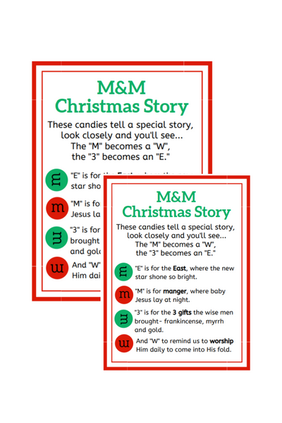 M&Ms Easter & Christmas Poem (2 Sizes)