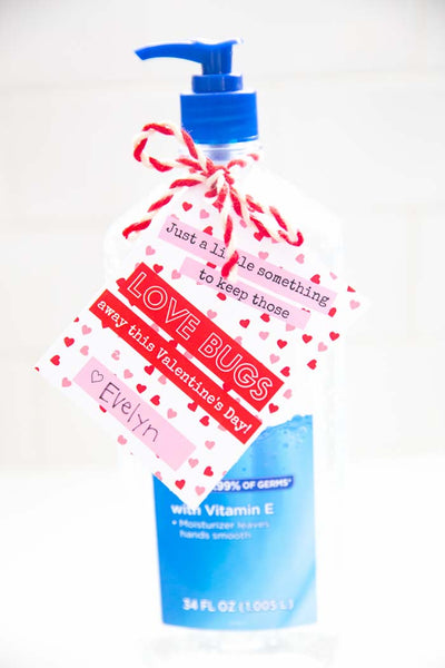 Love Bug Hand Sanitizer Valentine Gift- Printable Tags