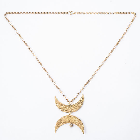 brass moon necklace dear dawcy