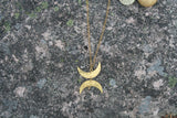 brass hammered moons necklace dear dawcy